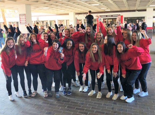 The Central High School football team, band, dance team, cheer team and Young Life gathered in the Central High School breezeway before the Central Lady Bobcats Soccer team boarded a bus for State Championship in Murfeesboro on Nov. 5, 2019.
