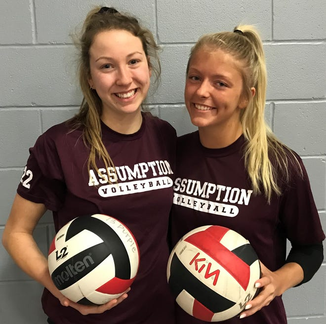 Assumption High School seniors Rylee Rader, left, and Anna DeBeer will try to lead the Rockets to their third straight state volleyball championship this weekend at Valley High School.