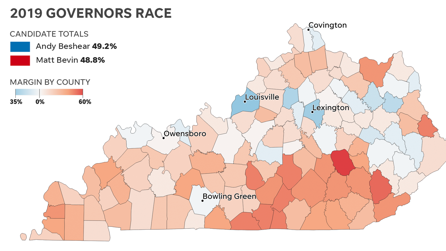 Kentucky election results 2019 by county: Maps show Bevin vs ... on tennessee map by county, map of counties in n d, map of kentucky county seats, map georgia by county, map of all counties in kentucky, google map of kentucky county, map of allen county kentucky, map of kentucky public hunting land, map of kentucky only, map of ohio, map of breathitt county kentucky, map of kentucky counties with names, map of southern california by counties, map of kentucky highways 163, map of ky, map of the counties in kentucky, south carolina map by county, ky map by county, map of kentucky with city names, map of kentucky cities,