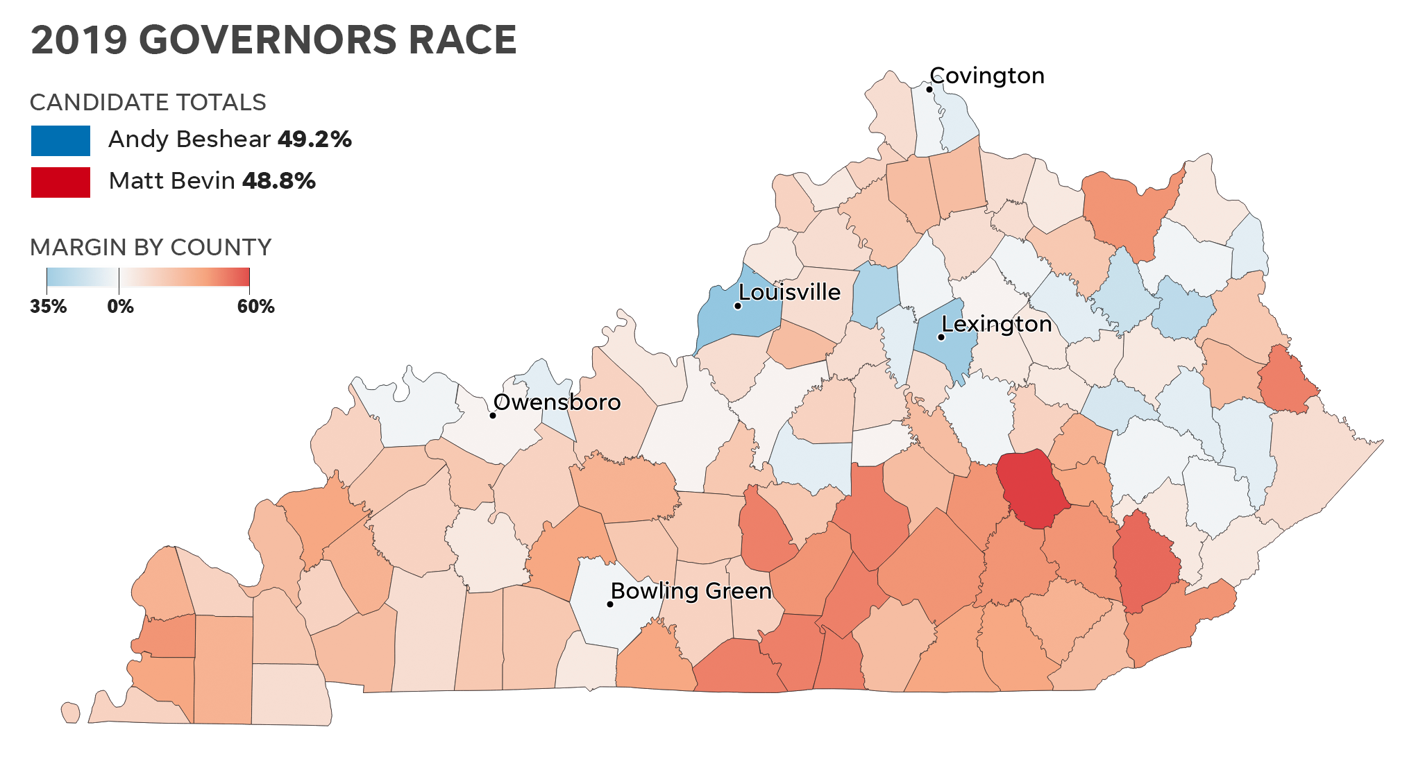 Picture of: Kentucky Election Results 2019 By County Maps Show Bevin Vs Beshear