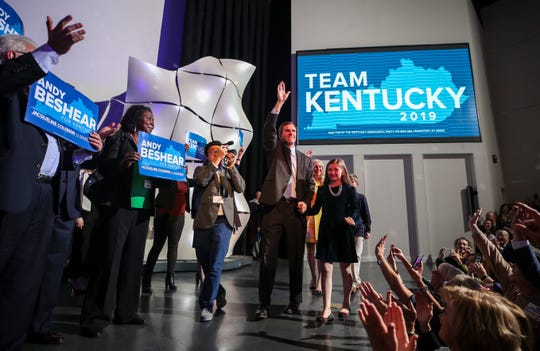 Attorney General Andy Beshear waves to supporters during Election Night after defeating incumbent Governor Matt Bevin on Election Day Tuesday, Nov. 5, 2019s