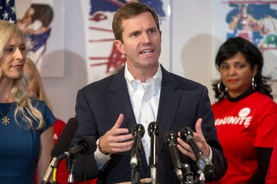 Kentucky Governor Elect Andy Beshear makes a pointduring a press conference at the Ali Center. Nov. 6, 2019