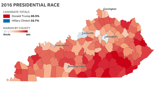 County-by-county 2016 election results for Kentucky, where Donald Trump trounced Hillary Clinton.