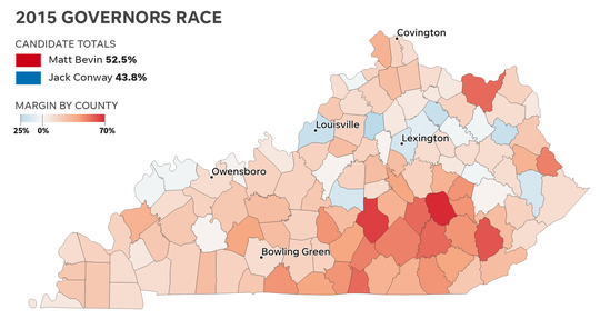 County-by-county results for the 2015 Kentucky governor's race.