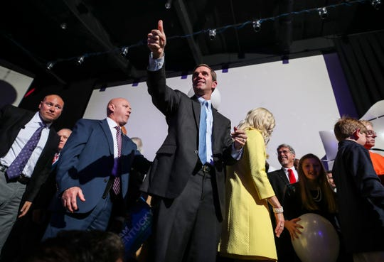 Attorney General now Governor-elect Andy Beshear greets supporters after he defeated incumbent Governor Matt Bevin on Election Night Tuesday, Nov. 5, 2019s