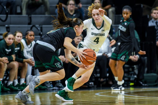Michigan State's Taryn McCutcheon, right, guards Eastern Michigan's Jenna Annecchiarico during the second quarter on Tuesday, Nov. 5, 2019, at the Breslin Center in East Lansing.
