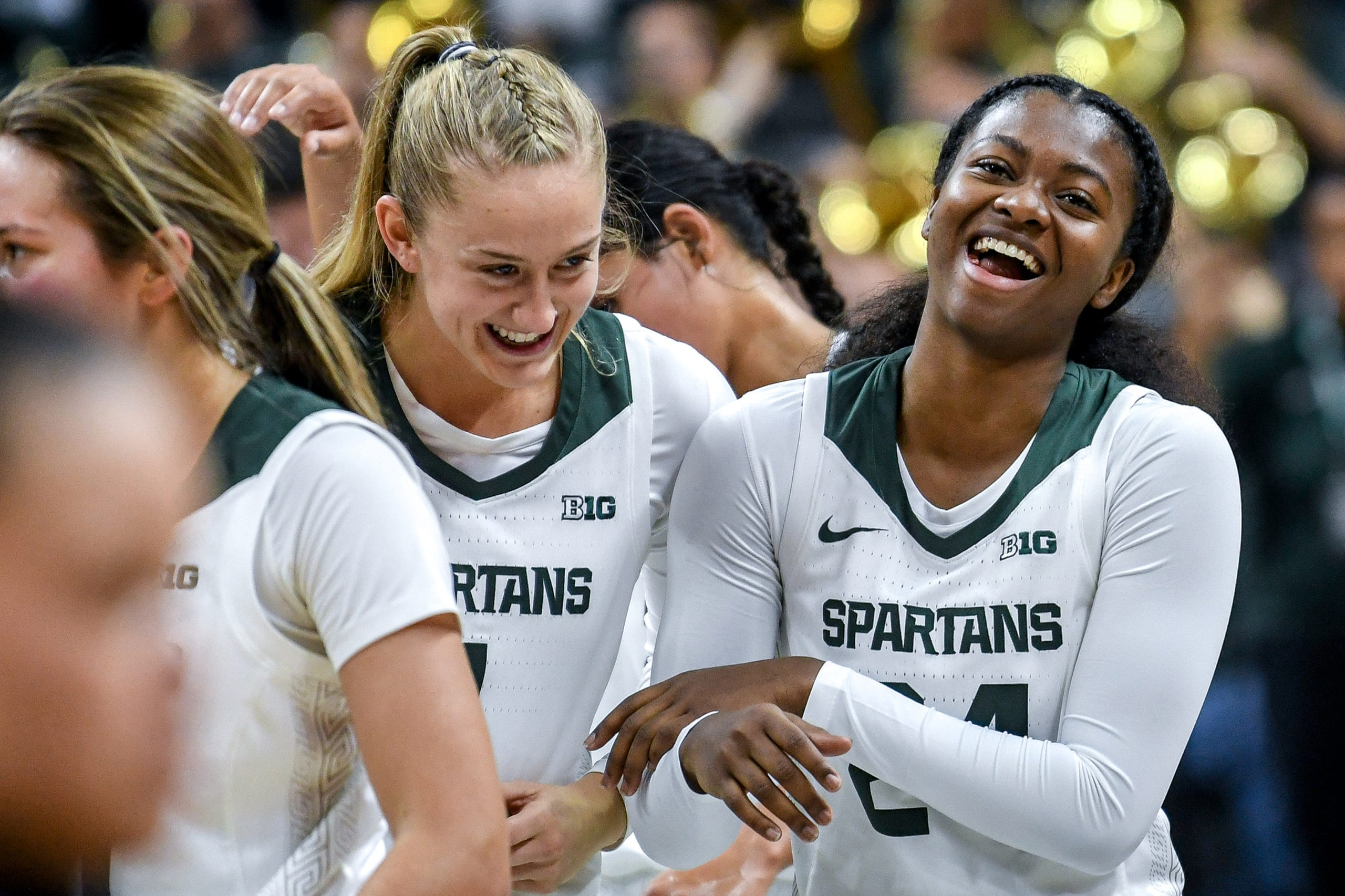 Michigan State's Nia Clouden, right, celebrates with Tory Ozment after their victory over Eastern Michigan on Tuesday, Nov. 5, 2019, at the Breslin Center in East Lansing.