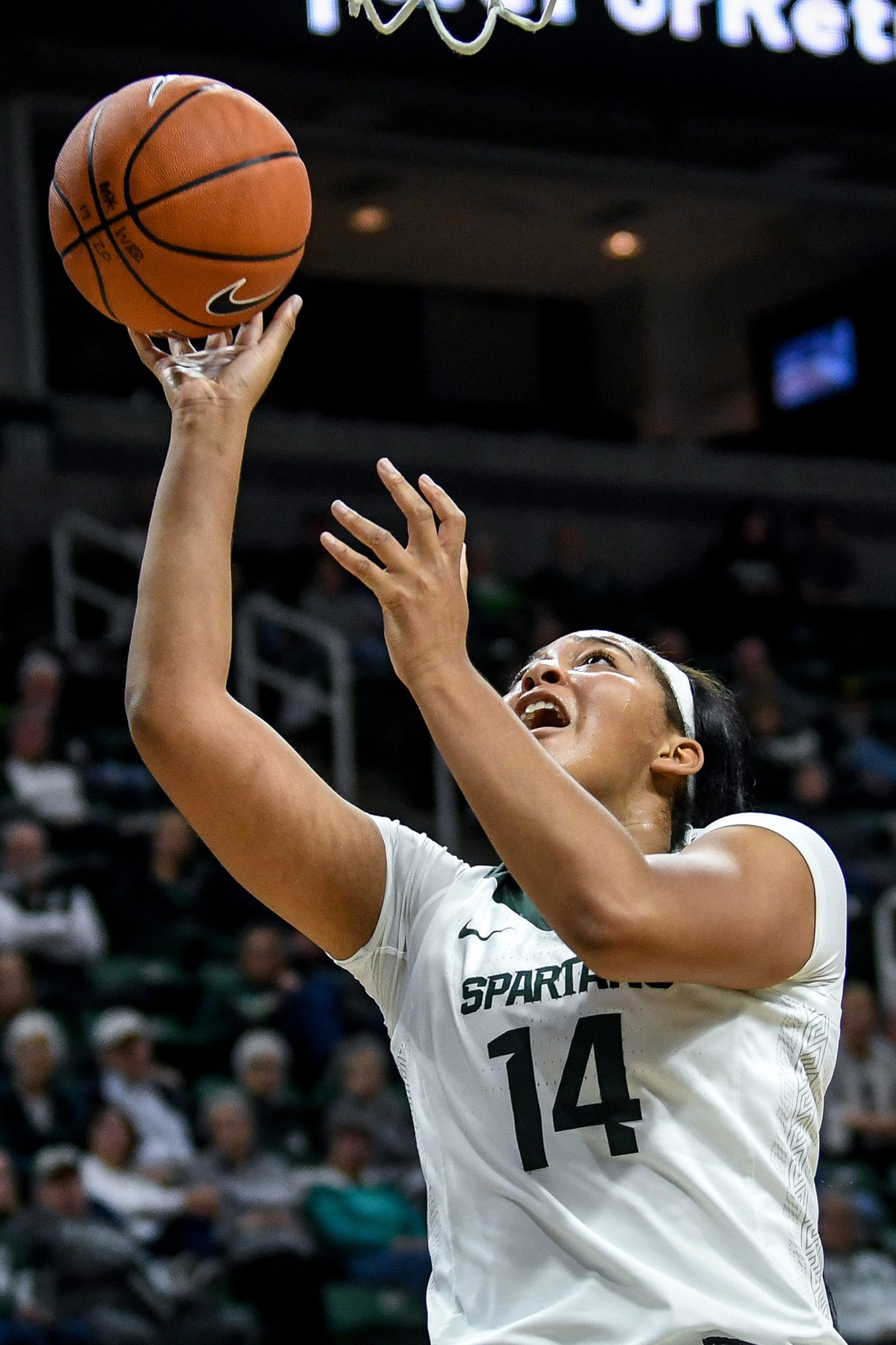 Michigan State's Taiyier Parks scores during the third quarter on Tuesday, Nov. 5, 2019, at the Breslin Center in East Lansing.