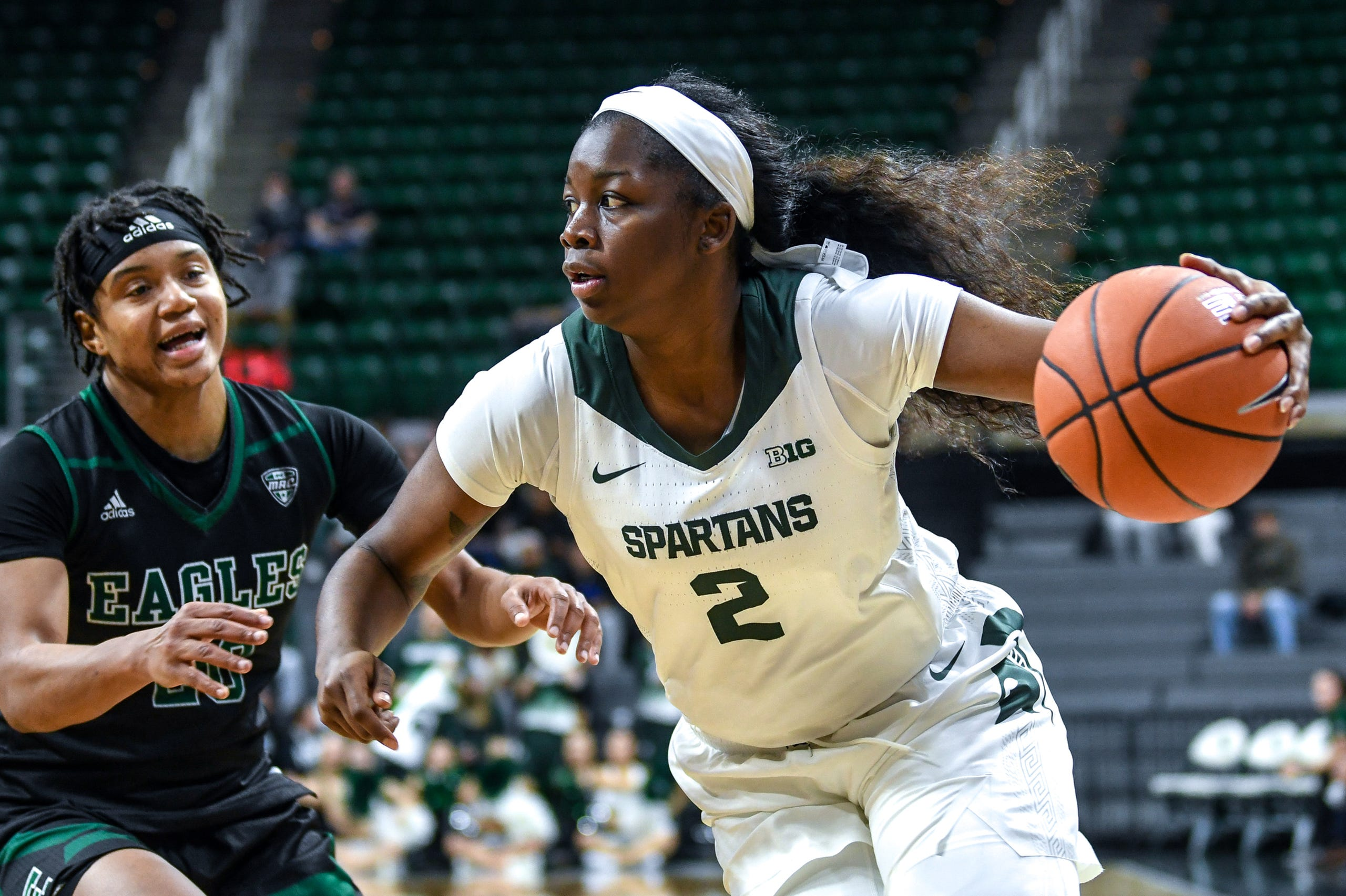 Michigan State's Mardrekia Cook moves with the ball during the fourth quarter on Tuesday, Nov. 5, 2019, at the Breslin Center in East Lansing.