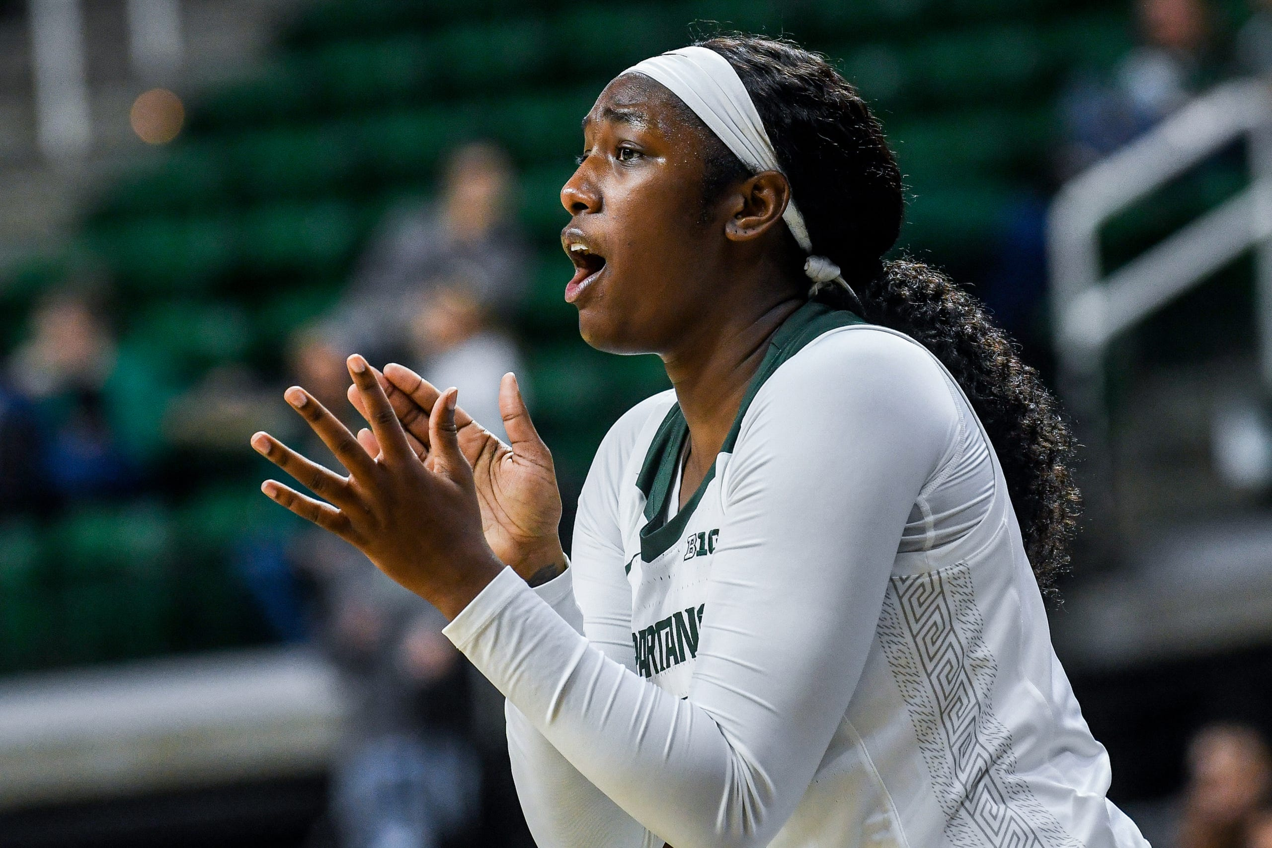 Michigan State's Victoria Gaines cheers on her teammates during the second quarter on Tuesday, Nov. 5, 2019, at the Breslin Center in East Lansing.