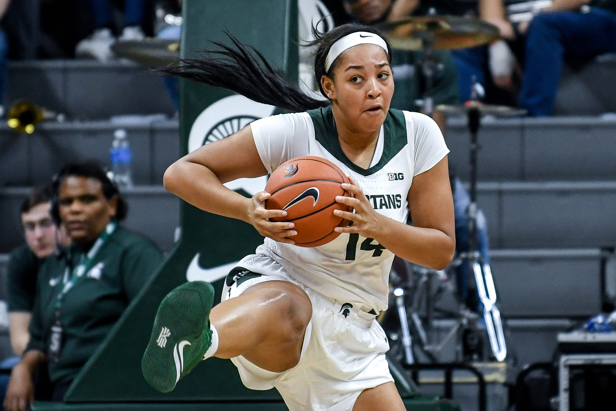 Michigan State's Taiyier Parks grabs a rebound during the  fourth quarter on Tuesday, Nov. 5, 2019, at the Breslin Center in East Lansing.