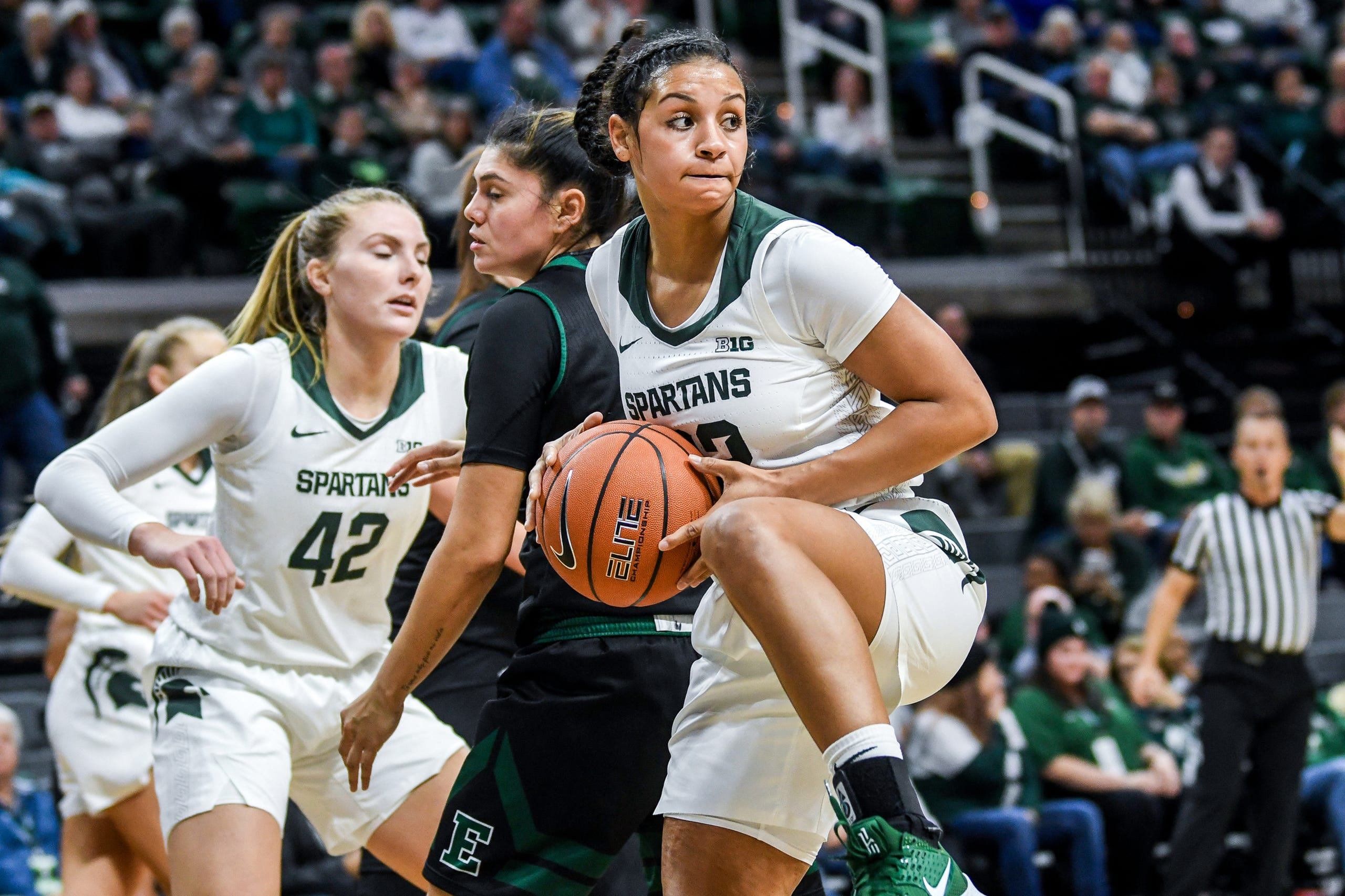 Michigan State's Moira Joiner grands a rubound during the  second quarter on Tuesday, Nov. 5, 2019, at the Breslin Center in East Lansing.