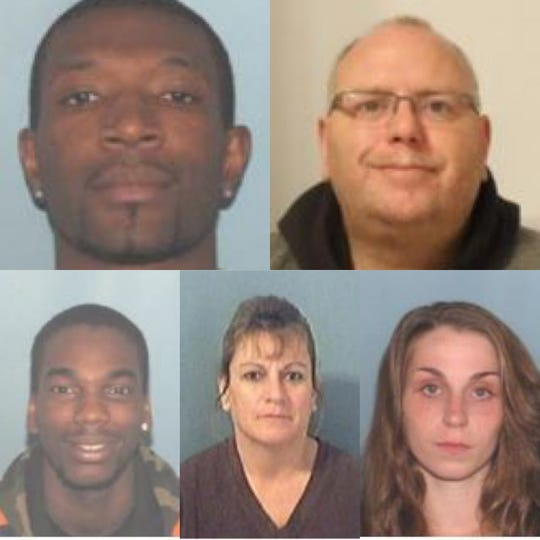 From left, Jason Johnson, Gary Richardson, Devontre Brent, Sonja Adams, and Charity Griffith are being south by federal and state officials in connection with a large-scale drug sweep.