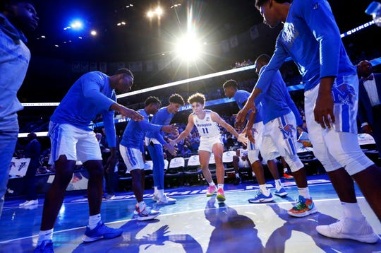Memphis Tigers guard Lester Quinones is introduced before their game against the South Carolina State Bulldogs at the FedExForum on Tuesday, Nov. 5, 2019.