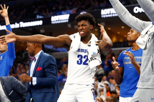 Memphis Tigers center James Wiseman celebrates a 3-pointer by his team against the South Carolina State Bulldogsat the FedExForum on Tuesday, Nov. 5, 2019.