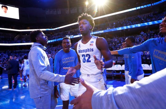 Memphis Tigers center James Wiseman is introduced before their game against the South Carolina State Bulldogs at the FedExForum on Tuesday, Nov. 5, 2019.