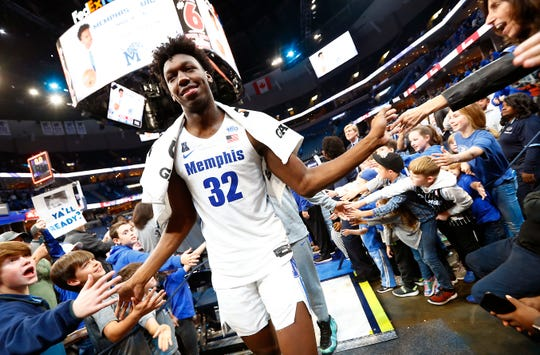 Memphis Tigers center James Wiseman walks off the court after their season opening 97-64 win over  the South Carolina State Bulldogs at the FedExForum on Tuesday, Nov. 5, 2019.