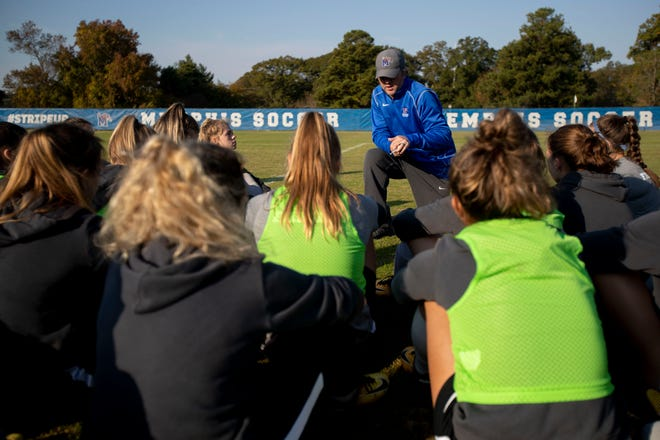Head women's soccer coach Brooks Monaghan works with his players Wednesday, Nov. 6, 2019, during a practice at the university's Billy J. Murphy Athletic Complex.