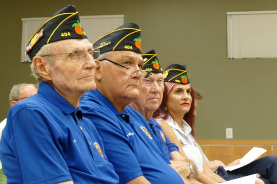 The American Legion Post 404 is leading the effort that will bring the The Wall That Heals exhibit to Marco Island. From left to right, WWII veteran John Basic, Vietnam era veteran John Aplozan, Korean War veteran Bill Horton and Gulf War veteran Yvette Bennaroch attended the city council meeting on Nov. 4.