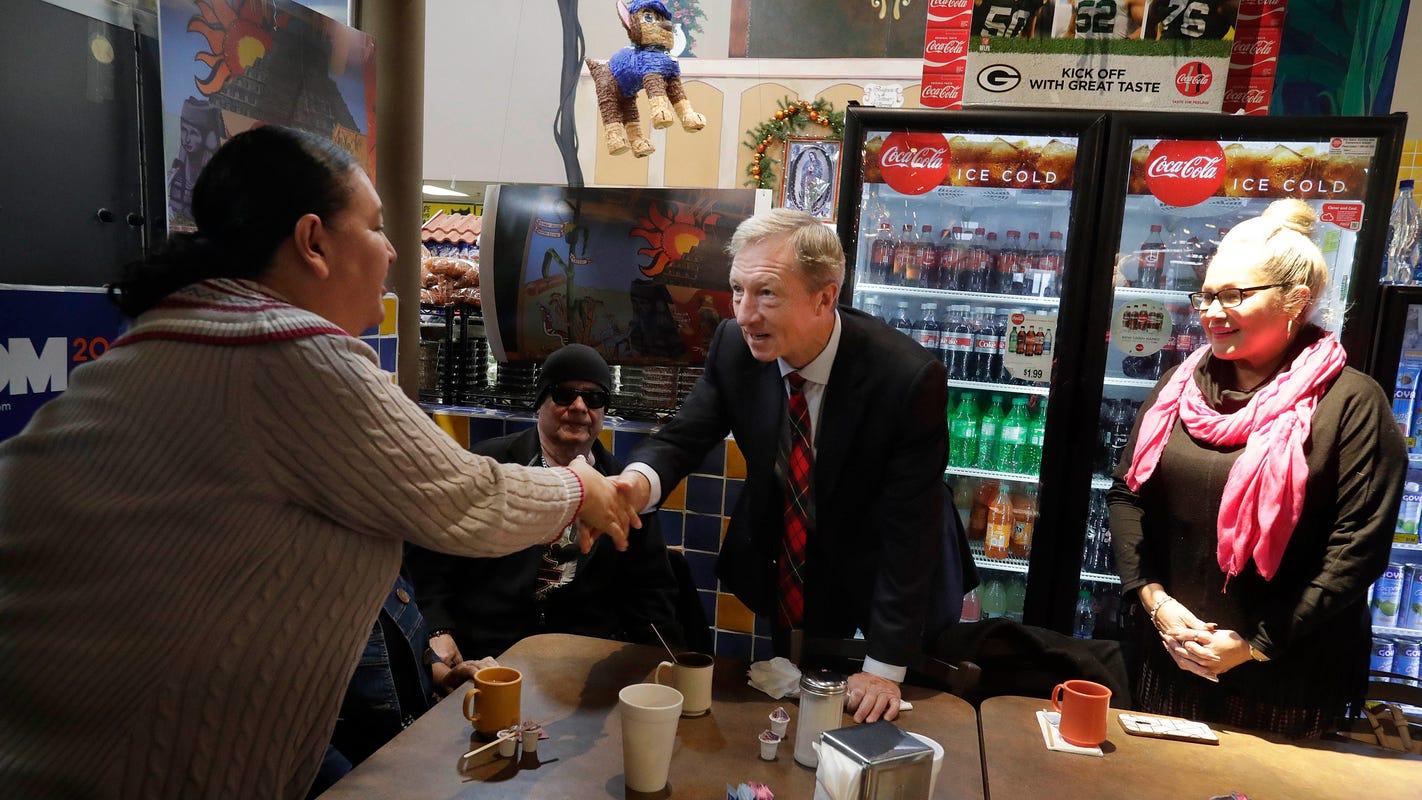 Democratic presidential candidate Tom Steyer jabs at Donald Trump, Scott Walker