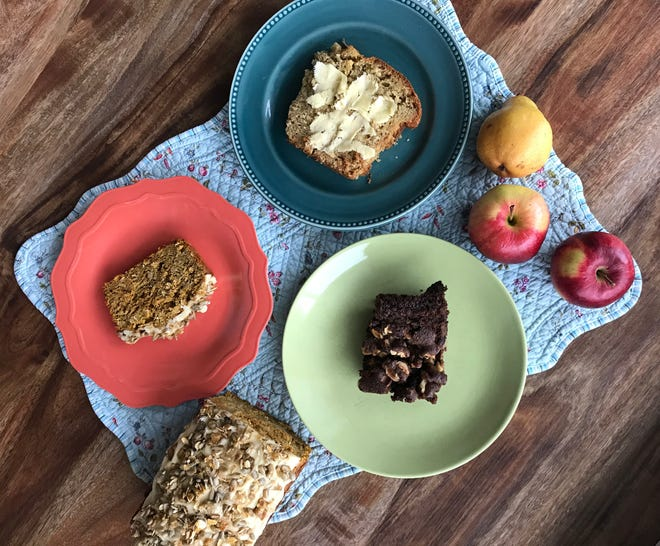 Quick breads here include, clockwise from left, pumpkin with pepita brittle, apple cheddar with thyme and chocolate with pear and hazelnuts.