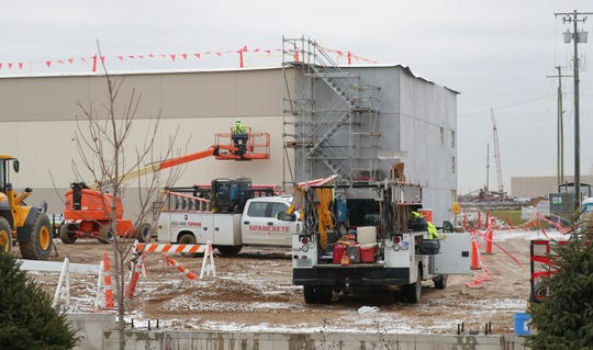 Work is done on structures at Foxconn Technology Group's planned flat-screen manufacturing complex in Mount Pleasant on Wednesday, Nov. 6, 2019.    - Photo by Mike De Sisti/Milwaukee Journal Sentinel