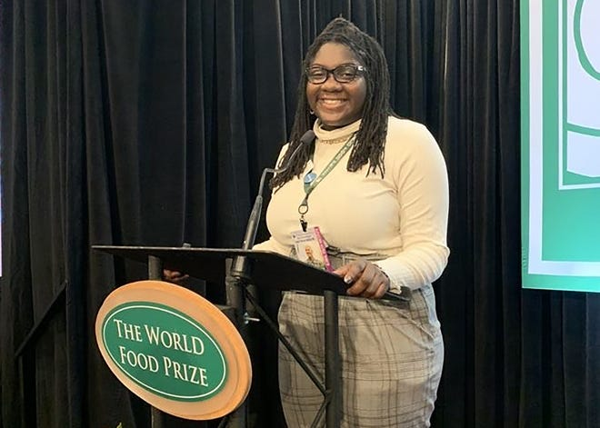 Brookfield Central junior Anel Robinson presented a speech on hunger at the Global Youth Institute in Des Moines in October. Robinson was one of 200 high school students worldwide chosen to attend the event.