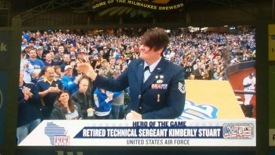 "Veterans for Diversity participates in events, including Brewers Pride Night, Bucks Pride Night, and PrideFest Milwaukee. Kimberly Stuart has been honored as the Brewers' ""hero of the game"" at Miller Park."