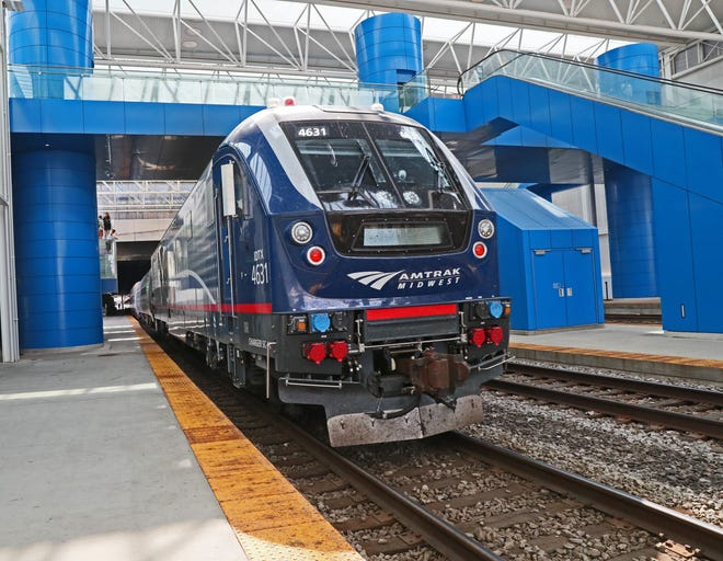 An Amtrak-Hiawatha train  arrives from Chicago in Milwaukee at the Intermodal Station in July of 2019.