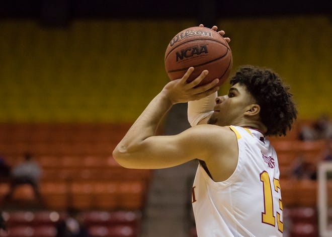University of Louisiana at Monroe's Jalen Hodge (13) prepares to shoot the ball during the first game of ULM's basketball season against Louisiana College at Fant-Ewing Coliseum in Monroe, La. on Nov. 5.