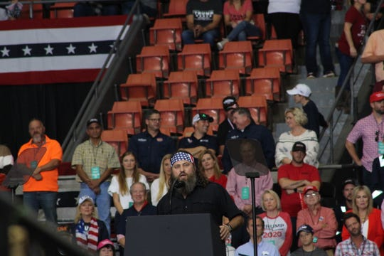 Duck Dynasty star Willie Robertson kicks off an early set of speakers at a rally for President Donald Trump.