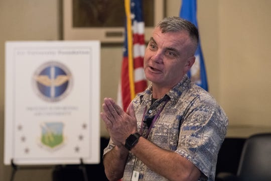 Retired Colonel Rob Swanson delivers a story of inspiration at the Air University Suicide Awareness Summit.