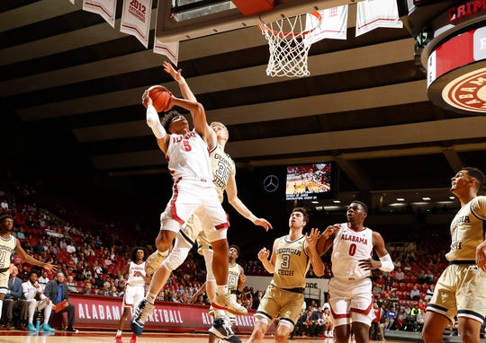 Alabama freshman guard Jaden Shackelford (5) goes up for a shot during an exhibition win over Georgia Tech on Oct. 27, 2019 from Coleman Coliseum. (Photo courtesy of Alabama athletics)