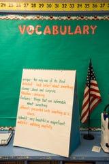 Mrs. Knights vocabulary board at Crump Elementary School in Montgomery, Ala., on Wednesday, Nov. 6, 2019.