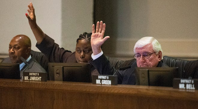 The Montgomery City Council votes down the panhandling ordinance amendment during the City Council meeting at City Hall in Montgomery, Ala., on Tuesday Nov. 5, 2019.
