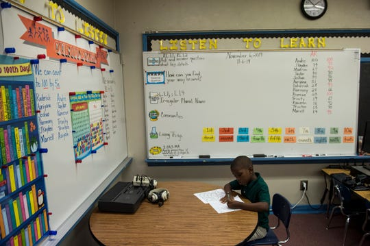 A student works in Mrs. Shannon's classroom at Crump Elementary School in Montgomery, Ala., on Wednesday, Nov. 6, 2019.