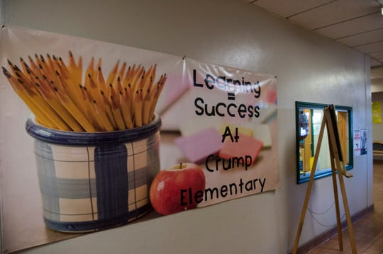Signs in the hallways at Crump Elementary School in Montgomery, Ala., on Wednesday, Nov. 6, 2019.