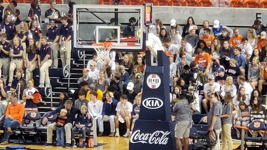 "Auburn basketball honors former play-by-play broadcaster Rod Bramblett with a commemorative ""RB"" logo on the basket stanchions."