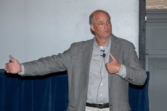 Dr. Thomas Joiner, the Robert O. Lawton Distinguished Professor in the Department of Psychology at Florida State University, speaks at the Air University Awareness Summit, Oct. 29, 2019, Maxwell Air Force Base.