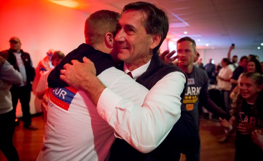 Republican mayoral-elect Dan Ridenour hugs constituents on Nov. 5 at the Knights of Columbus following Muncie's municipal election. Republican's took both the mayor's race and a majority on city council.