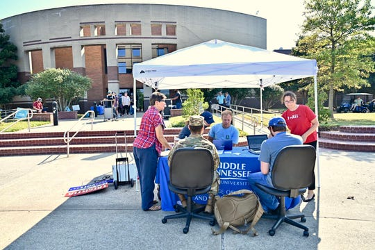This voter registration table near the Bragg Media and Entertainment Building was among multiple locations set up Tuesday, Sept. 17, across campus as part of MTSU's 2019 Constitution Day celebration.