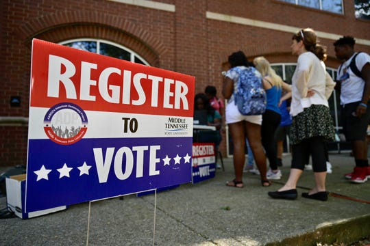 This voter registration table was among multiple locations set up Tuesday, Sept. 17, across campus as part of MTSU's 2019 Constitution Day celebration.