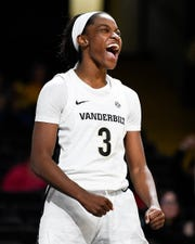 Vanderbilt guard Jordyn Cambridge (3) reacts during the second half against Jacksonville State at Memorial Gym in Nashville, Tenn., Tuesday, Nov. 5, 2019.