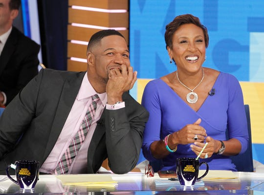 "Robin Roberts, and Michael Strahan on ""Good Morning America,"" Wednesday, January 17, 2018 on the ABC Television Network."