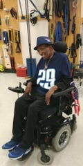 Military veteran and super Titans fan George Thomas, 72, at his home in Memphis before getting presented with a new wheelchair from the Titans and Permobil