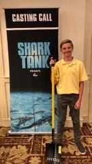 "Station Camp Middle School student Maddox Prichard pitched his invention, the Measuring Shovel, to the Sharks on ABC's ""Shark Tank."""