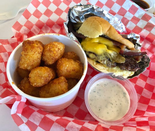 Red Headed Stranger Green Hatch Chile Cheeseburger, spiced tots, dilled ranch