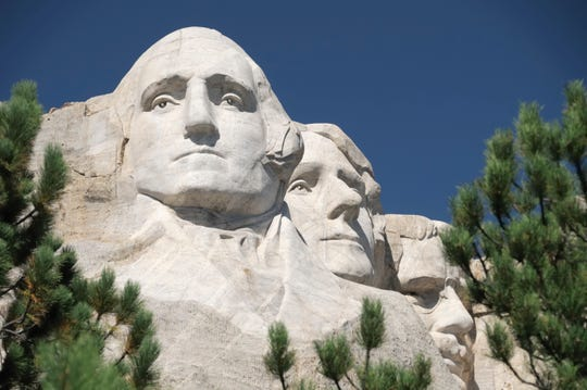 George Washington as he appears on Mount Rushmore in South Dakota.