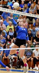 Barron Colliers Skylar English (16) jumps to spike the ball during their game against Fort Lauderdale-Archbishop McCarthy for the regional championship where the winning team advances to the state semifinals,Tuesday, Nov. 5, 2019.