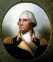A portrait of George Washington when he served as a general.